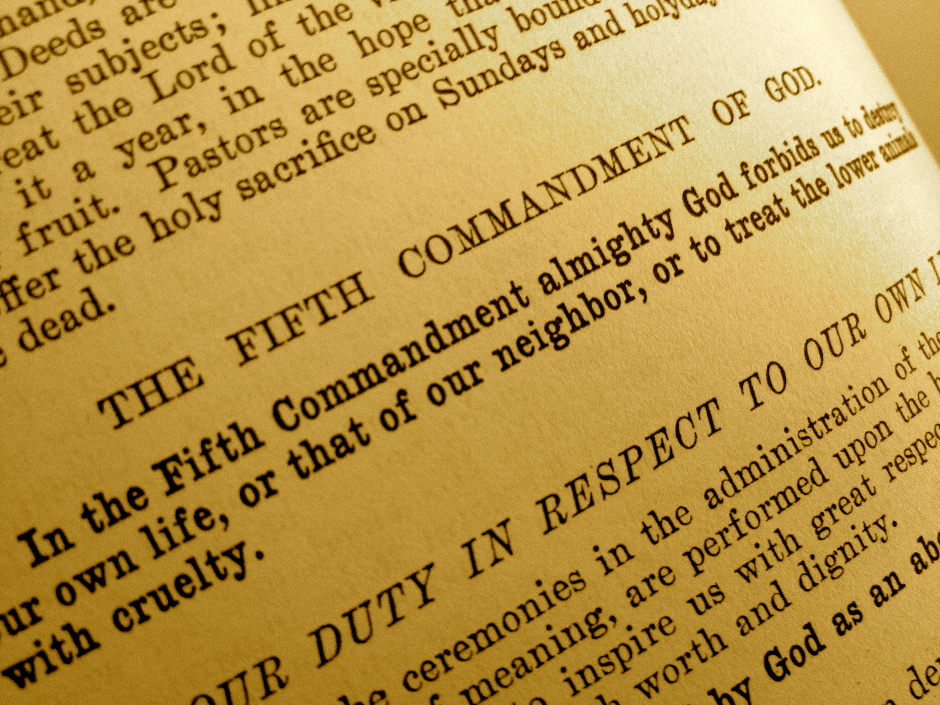 The Fifth Commandment appears in text