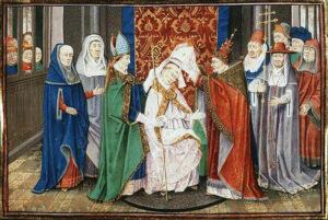 Hubert being ordained bishop