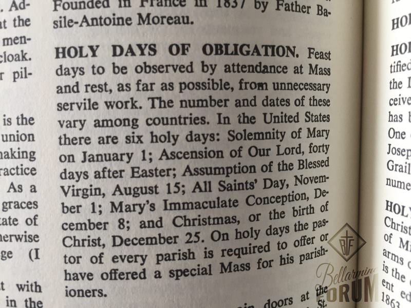 holy days of obligation from Fr Hardon dictionary