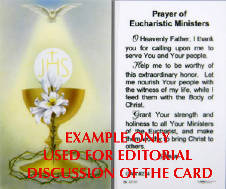 """This card uses the term banned in the Vatican instruction -- there is no such thing as an """"Eucharistic Minister"""""""