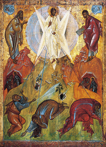 Traditional Icon of the Trasnfuguration shows the Glory of Jesus striking the Apostles -- notice that they appear to be dumbstruck!