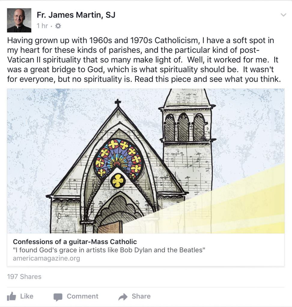 Facebook post by James Martin SJ praising an article about so-called guitar Masses.