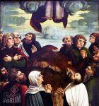 Himmelfart's painting of the Ascension, showing Jesus's feet in the frame and the apostles looking upward