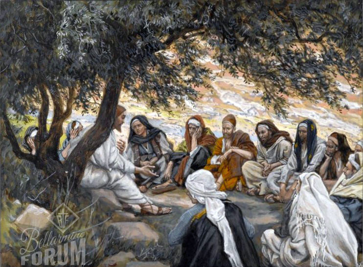 """Tissot's painting of Jesus's last visit with the Apostles, exhorting the apostles, titled """"The Parting Advice"""""""