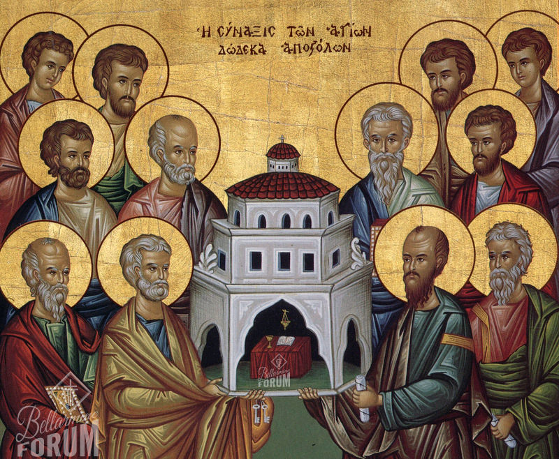 icon of synaxis of the the apostles, they hold the church among them