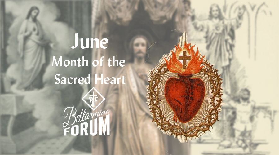 An emblem of the Sacred Heart of Jesus is set foreground to blurred background collage comprised of Jesus revealing his sacred heart to St. Margaret Mary Alacoque, A boy kneeling before a statue of the Sacred Heart of Jesus, and a statue of the Jesus pointing to His Sacred Heart.