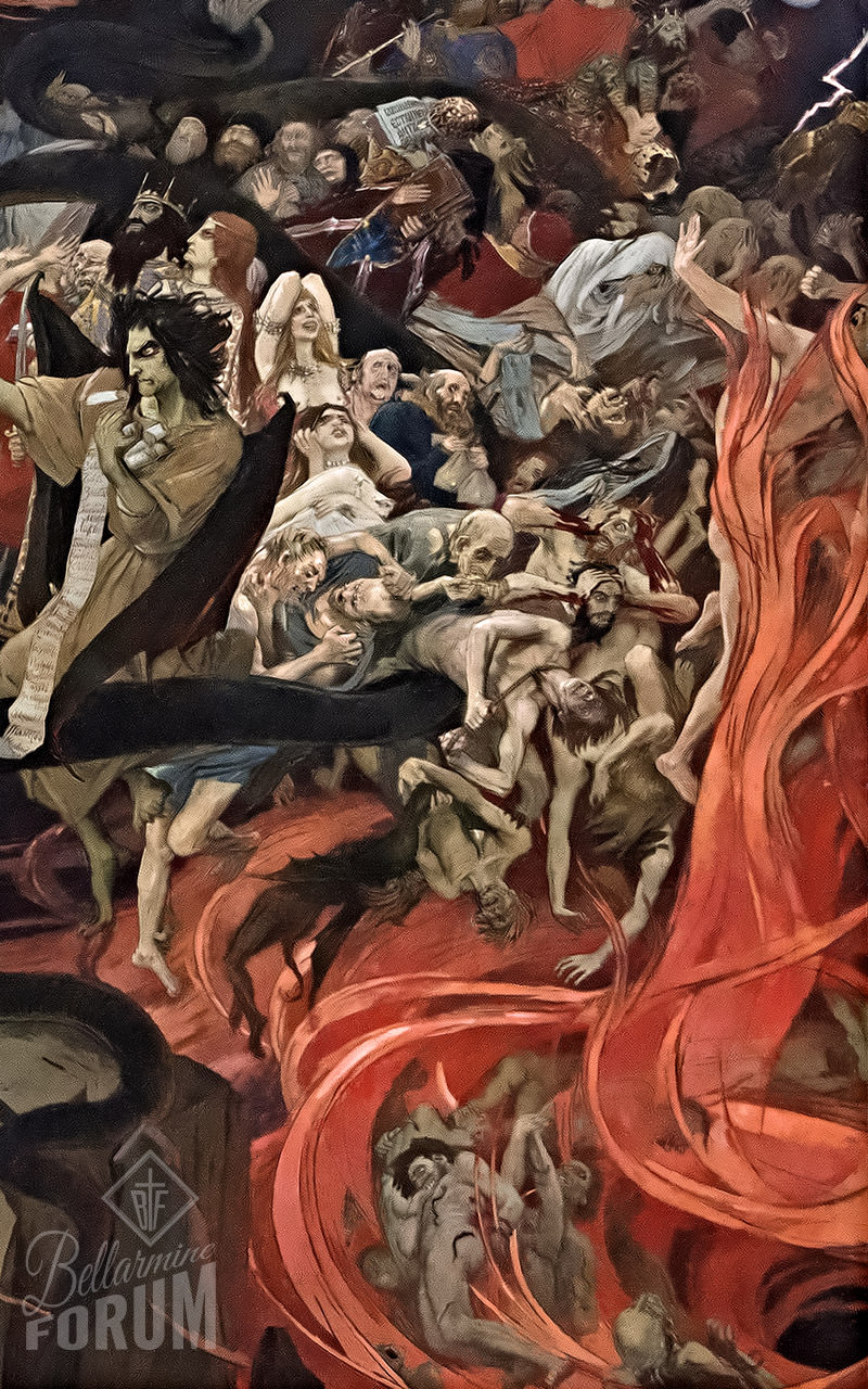tormented souls fall into the fires of hell